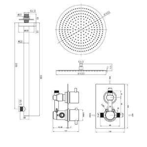 "Round 16"" Ultra Thin Mixer Thermostatic Shower Head Set Chrome Thermostatic Bathroom Valve Set"