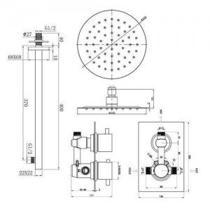 """Round 8"""" Wall Mounted Thermostatic Mixer Shower Ultra Thin Head Chrome Bathroom Valve Shower Set"""