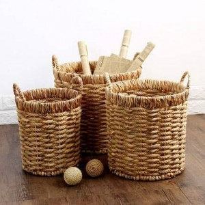 Round grasshopper handle storage bucket grass rope braided towel clothing storage debris finishing garbage basket