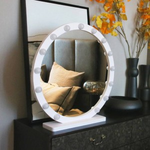 Round large makeup mirror with light led professional desktop vanity mirror HD live fill light princess style mirror mx12291632