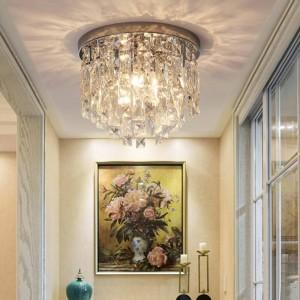 Round LED crystal ceiling lamp Lamps For Living Room home light luxury Led Lights Lustre E14 crystal Home Lighting Luminaire
