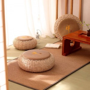 Round Pouf Ottoman Stool Rattan Seat Pad Floor Yoga Meditation Cushion Straw Rustic Tatami Modern Knitted Pouf Furniture Pouffe