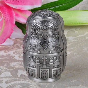 Russian Classic Matryoshka Automatic Toothpick Holder Box Metal Art Craft Vintage Home Decoration Creative Gift Ornaments