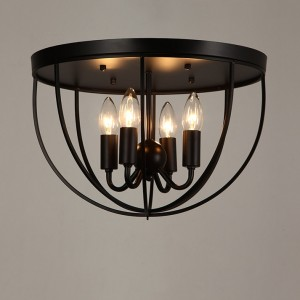 Rustic Black Metal Round Cage Semi Flush Mount Ceiling Light with 4 Candelabra Shaped Lights