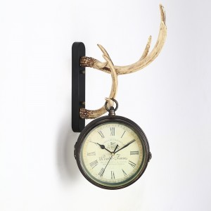 Rustic Cottage Resin Antler Clock Hanging Wall Clock Two Sided Antique Clock