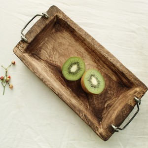 Rustic Distressed Wooden Handcrafted Rectangle Decorative Serving Tray Fruit Accent Tray with Metal Handles in Brown Set of 3