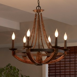 Rustic Iron Burnished Wood & Sculpted Wood Beads 6-Light Candelabra Ceiling Chandelier