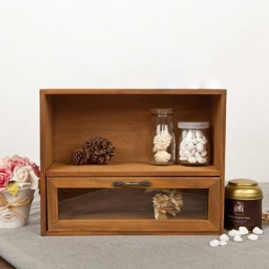 Rustic Minimalist Freestanding Wood Countertop Organizers with Shelf & Glass Drawer in Brown
