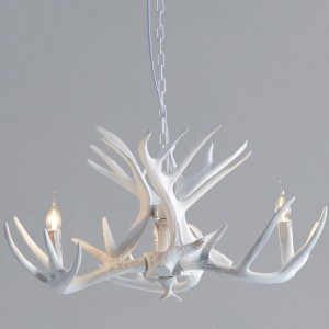 Rustic Pure White Faux Antler Cascade Single-Tier Chandelier with Candelabra Lights