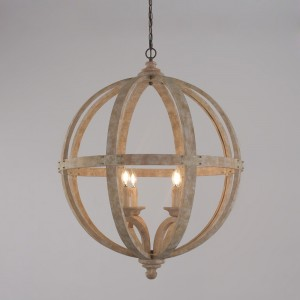 Rustic Style 4-Light Wooden Globe Chandelier Vintage Candle Style Ceiling Light in Distressed Finish