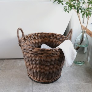 Rustic Style Hand Woven Waterproof Round Laundry Basket Imitation Rattan Storage Basket Two-Tone Home Organizer