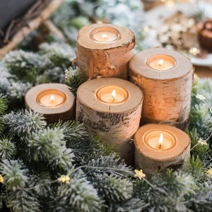 Rustic Style Tree Trunk Tealight Candle Holder Cylindrical Birch Wood Votive Holder Set of 3