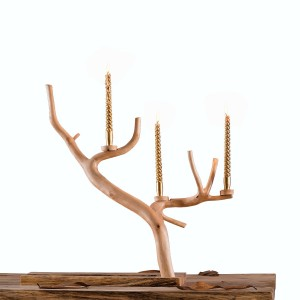 Rustic Style Twigs Branch Decorative 2-Tier Candle Holder Tealight Wooden Standing Holder with Pear Wood Rectangular Base