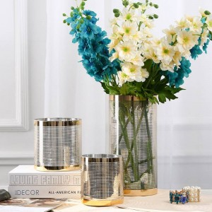 Sample Room Glass Vase Flower Pots Planters Shining Line Luxury Decor Vases Flower Pots Crystal