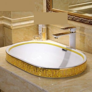 Semi Embedded Europe Vintage Style Art wash basin Ceramic Counter Top Wash Basin Bathroom Sinks bathroom basin bowl oval