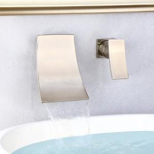 Shoop Brushed Nickel Wall Mounted Single Handle Waterfall Bathroom Sink Faucet