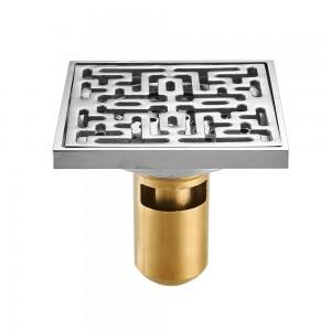 Shower Drains 10cm Square Brass Chrome Bathroom Floor Drain Balcony Deodorant Bath Drain Strainer Cover Waste Grate LAD-8117L