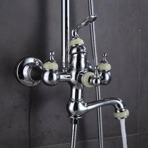 Shower Faucet Brass Chrome Wall Mounted Bathtub Faucet Rain Shower Head Round Handheld Slide Bar Bathroom Mixer Tap Set 877011