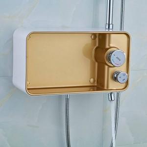 Shower Faucet Brass Chrome Wall Mounted Bathtub Faucet Rain Shower Head Square Handheld Slid Bar Bathroom Mixer Tap Set LAD-58801