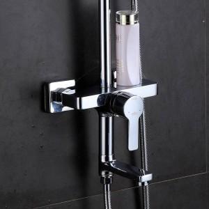 Shower Faucet Brass Chrome Wall Mounted Bathtub Faucet Rain Shower Head Square Handheld Slide Bar Bathroom Mixer Tap Set 877001