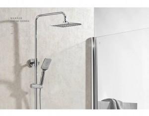 Shower Faucet Brass ORB Wall Mounted Bathtub Faucet Rain Shower Head Square Handheld Slid Bar Bathroom Mixer Tap Set