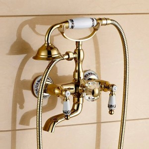 Shower Faucet Brass Polished Golden Bathtub Faucets Hand Rain Shower Head Tap Luxury Ceramic Telephone Wall Bath Faucet LAD-18025