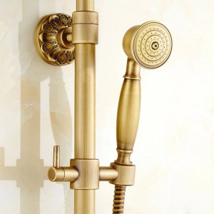 """Shower Faucets Antique Brass Wall Moutned Bathroom Faucets Set 8"""" Rain Shower Head Round Handheld Bra Bathtub Mixer Tap LY-32117"""