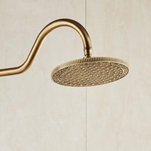 Shower Faucets Antique Bronze Wall Mounted Brass Rainfall Shower Sets Faucet Mixer Tap Cold and Hot Shower Set Crane 10135