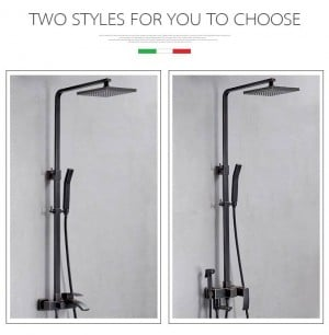 Shower Faucets Brass Black Bathtub Faucet Square Tube Single Handle Top Rain Shower With Slide Bar Wall Water Mixer Tap