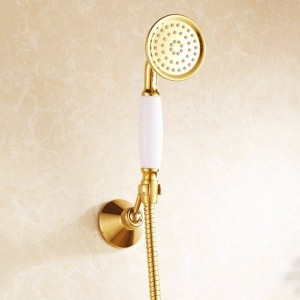 Shower Faucets Brass Luxury Gold Bathtub Faucets Rain Shower HandHeld Bathroom Sanitary Wall Mount Shower Mixer Tap Sets HJ-6758