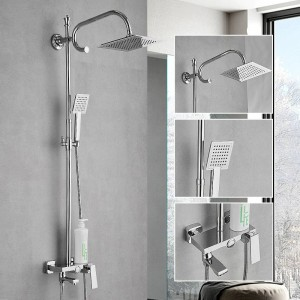 Shower Faucets Brass ORB Bathtub Faucet Round Tube Single Handle Top Rain Shower With Slide Bar Wall Water Mixer Tap 877002R