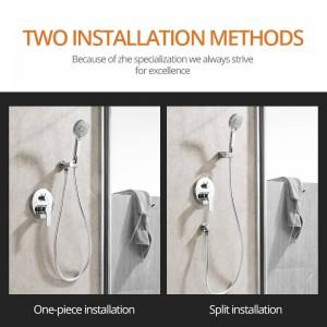 Shower Faucets Chrome Silver Wall Mount Bathroom Faucet Set Rainfall Square Big Shower Head Handheld Valve Bath Mixer Tap LAD-628