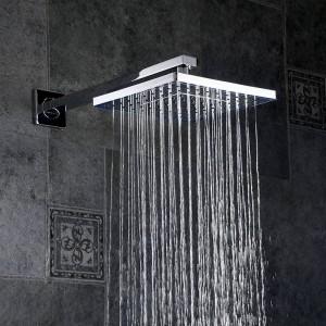 Shower Faucets Chrome Silver Wall Mount Bathroom Faucet Set Rainfall Square Big Shower Head Handheld Valve Bath Mixer Tap YB-608