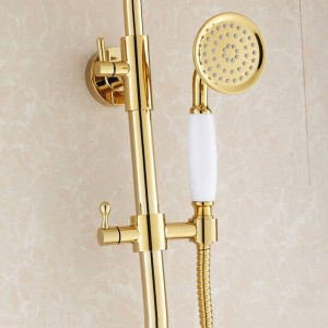 Shower Faucets Luxury Gold Bathroom Rainfall Shower Faucet Set Mixer Tap With Hand Sprayer Wall Mounted Bath Shower Head HJ-859k