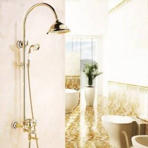 Shower Faucets Luxury Gold Brass Bathroom Shower Faucet Set Rainfall Head Single Ceramic Handle Tub Mixer Shower Tap SE-1688K