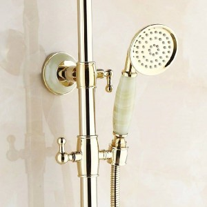 Shower Faucets Luxury Gold Color Bath Shower Set Wall mounted Bathtub Faucet Rainfall Head Handheld Spray Mixer Taps Q-66B
