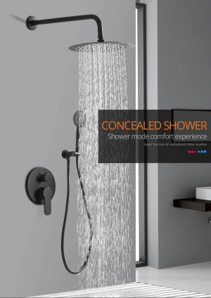 Shower Faucets Matte Black Wall Mount Bathroom Faucet Set Rainfall Square Big Shower Head Handheld Valve Bath Mixer Tap