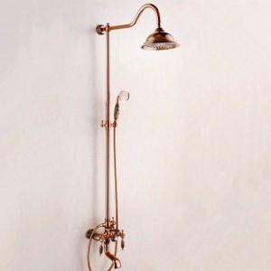 "Shower Faucets New Marble Golden Bath Shower Set Brass Wall Mounted 8"" Rain Shower & Handshower Faucet Set for Bath"
