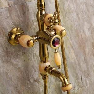 """Shower Faucets New Marble Golden Bath Shower Set Brass Wall Mounted 8"""" Rain Shower & Handshower Faucet Set for Bath XT351"""