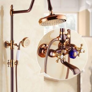 "Shower Faucets Brass Wall Mounted Bathroom Faucet Set 8"" Big Round Rain Shower Head Handheld Bar Bath Mixer Taps SM-042612"