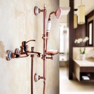 Shower Faucets Wall Mounted Bath Shower Sets Bathroom Golden Brass Bath Shower Faucet with Slide Bar Handheld Soap Dish