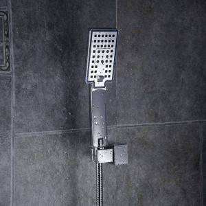 Shower Heads ABS Plastic Wall Mounted Rainfall Top Shower Head Handheld Ultra-thin Square Rain Shower Faucet Without Arm FS236