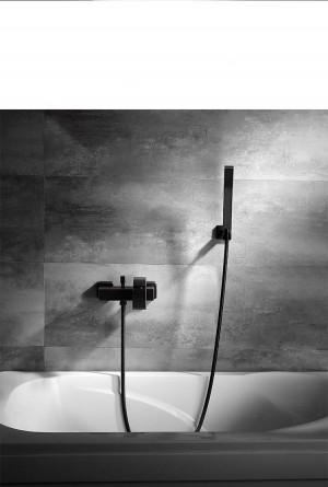 shower set black copper Square Tube Single Handlebath shower faucet Bathtub hot and cold water bathroom XT346