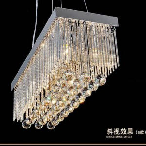 Silver Restaurant crystal pendant light lustres de cristal rectangle pendant crystal lamp dining room silver abajur