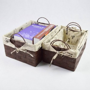 Simple rattan storage box Handmade grass shelf basket Pastoral Creative trumpet desktop underwear debris snack box