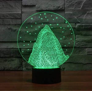 Snow mountain shape 3D night light,colorful 3D acrylic led usb table Lamp holiday deco mood light for Children's Christmas gift