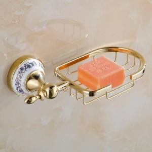 Soap Dishes Metal Golden Soap Basket Bath Storage Holder Ceramics Bathroom Accessories Home Improvent Soap Dish Wall ST-6706
