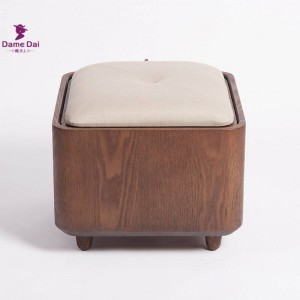 Solid Wood Frame Foot Rest Stool Ottoman Storage Multi functional Pouf Wooden Footrest Soft Seat Pad Cube Ottoman Storage Box