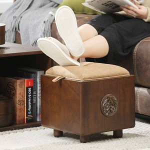 Solid wood storage stool storage stool can sit adult household solid wood storage box multifunctional shoe bench