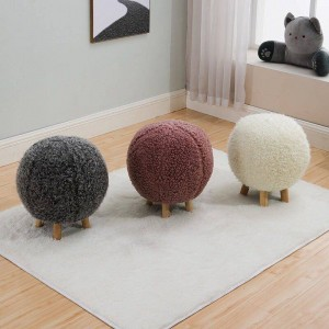 Spherical Knitting Wool Stool Wood Footstool Chair Sofa Furniture Ottomans Home Decor Bench Multi-color Optional Wood Frame